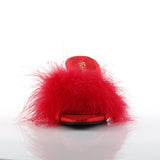 Red Fur Marabou BELLE-301F Slippers - The Atomic Boutique