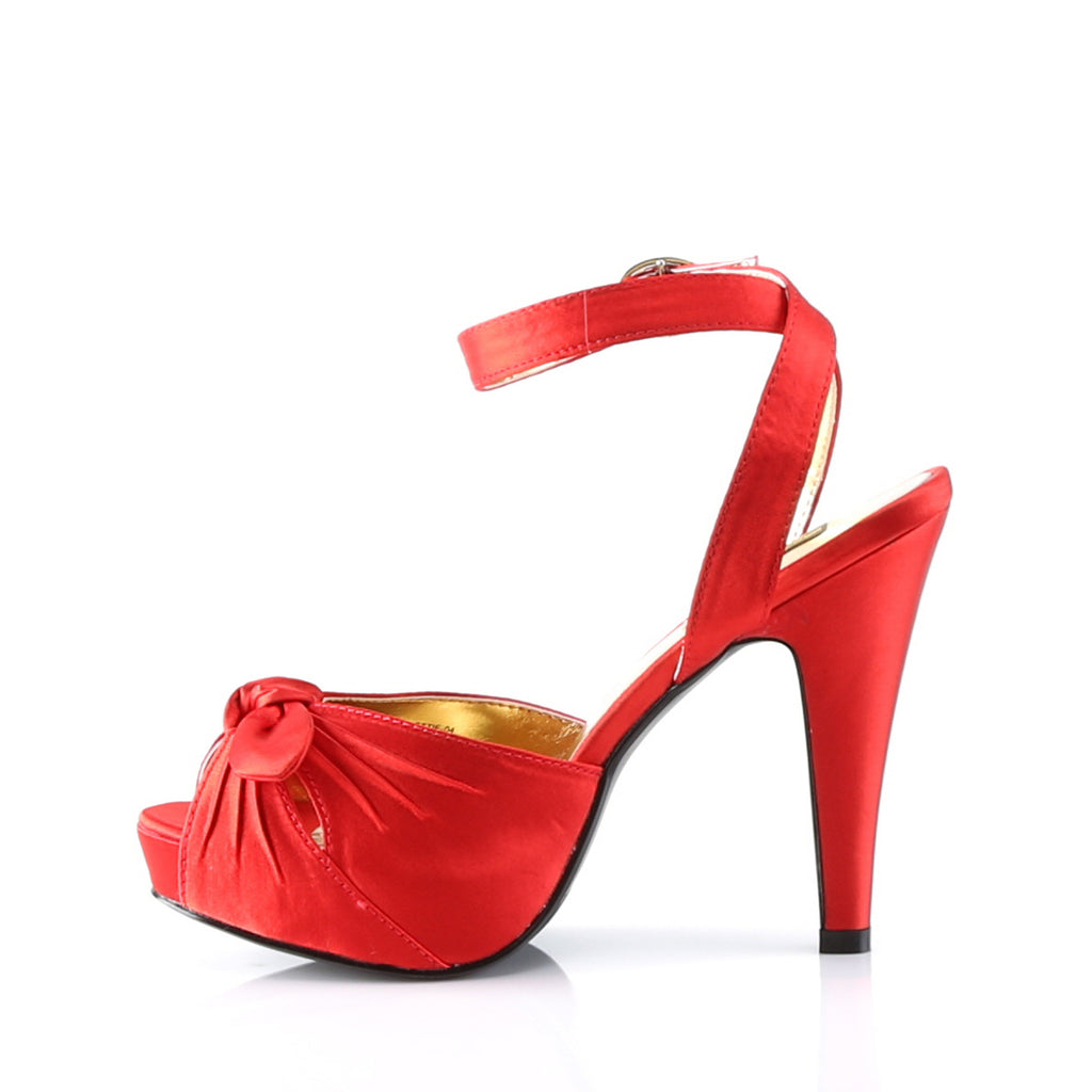 Satin Red Ankle Strap Bow Pumps BETTIE-04 - The Atomic Boutique