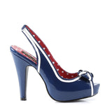 Navy Blue Patent Slingback Pumps BETTIE-05 - The Atomic Boutique