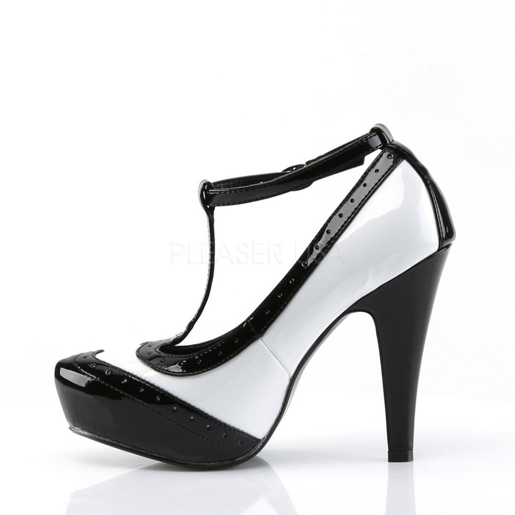 Pinup Couture Black and White T-Strap Pumps - The Atomic Boutique
