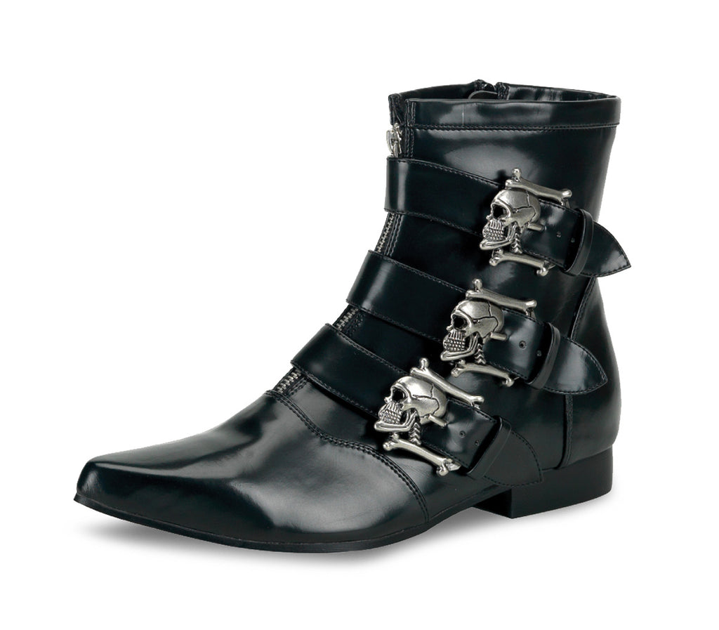 Black Skull Buckle BROGUE Boots BROGUE-06 - The Atomic Boutique