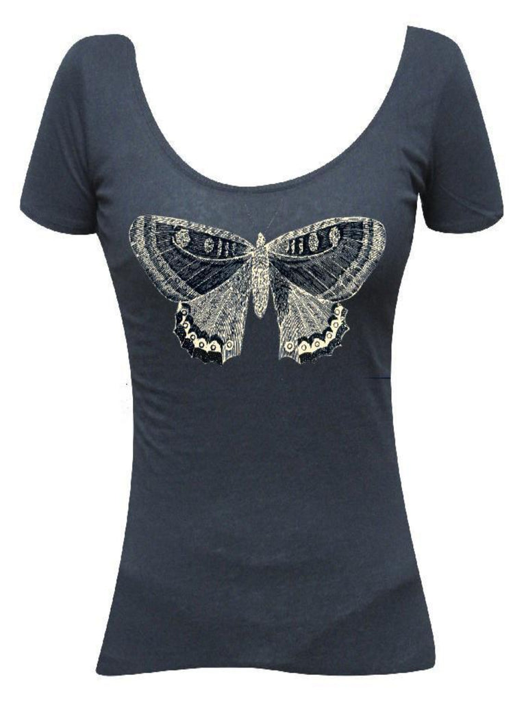 Butterfly Scoop Neck Tee - The Atomic Boutique
