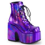 Purple Hologram CAMEL Ankle Lace Up Boots CAMEL-203 - The Atomic Boutique