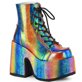 Rainbow Iridescent Vegan Leather CAMEL Ankle Boots CAMEL-203 - The Atomic Boutique