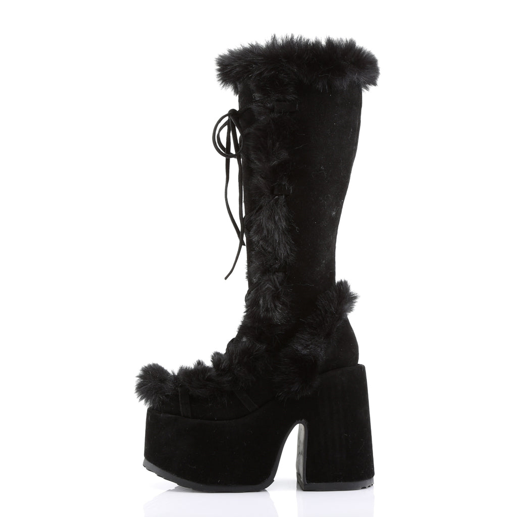Black Faux Fur Knee High Boots CAMEL-311 - The Atomic Boutique