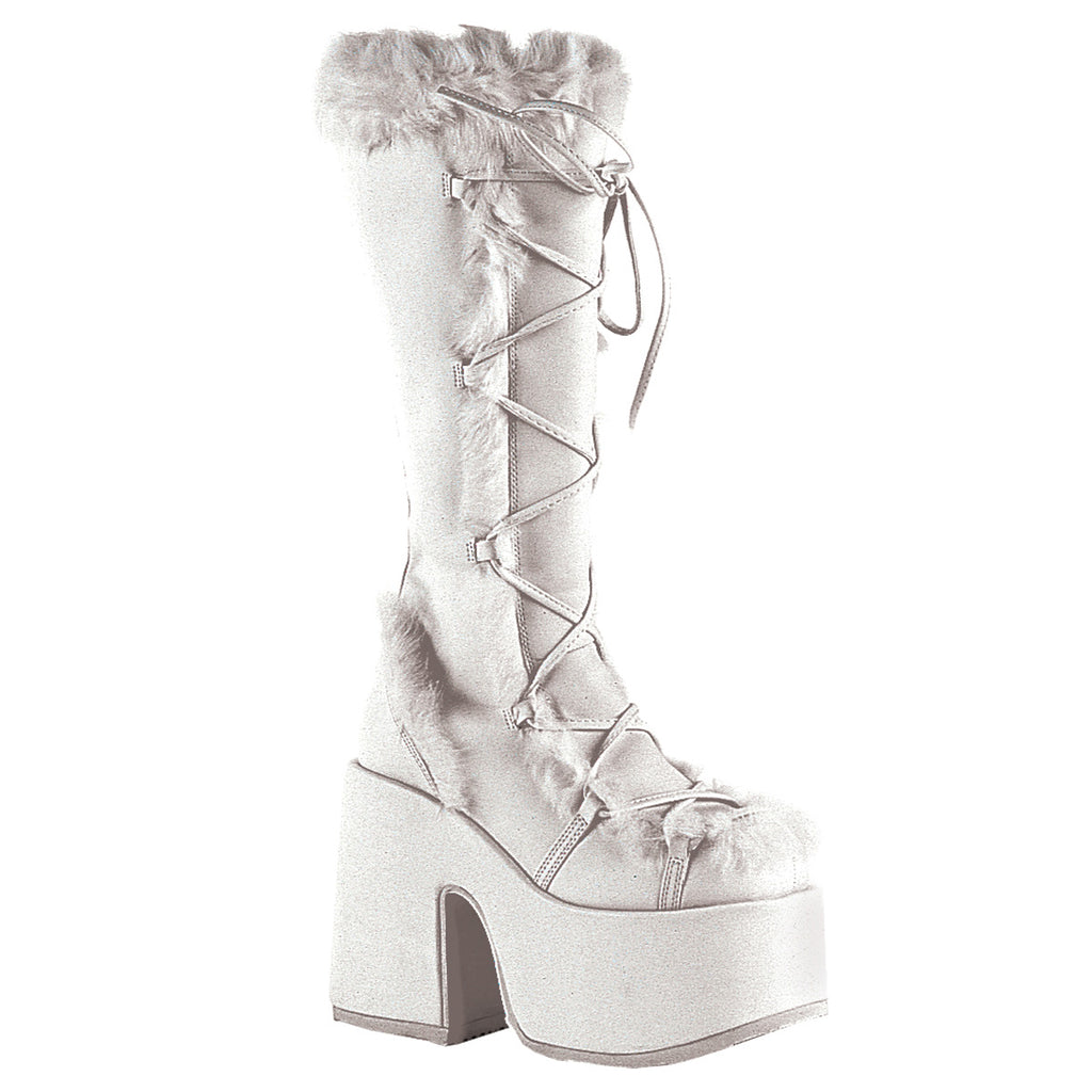 White Fur Lined Knee High Length Boots CAMEL-311 - The Atomic Boutique