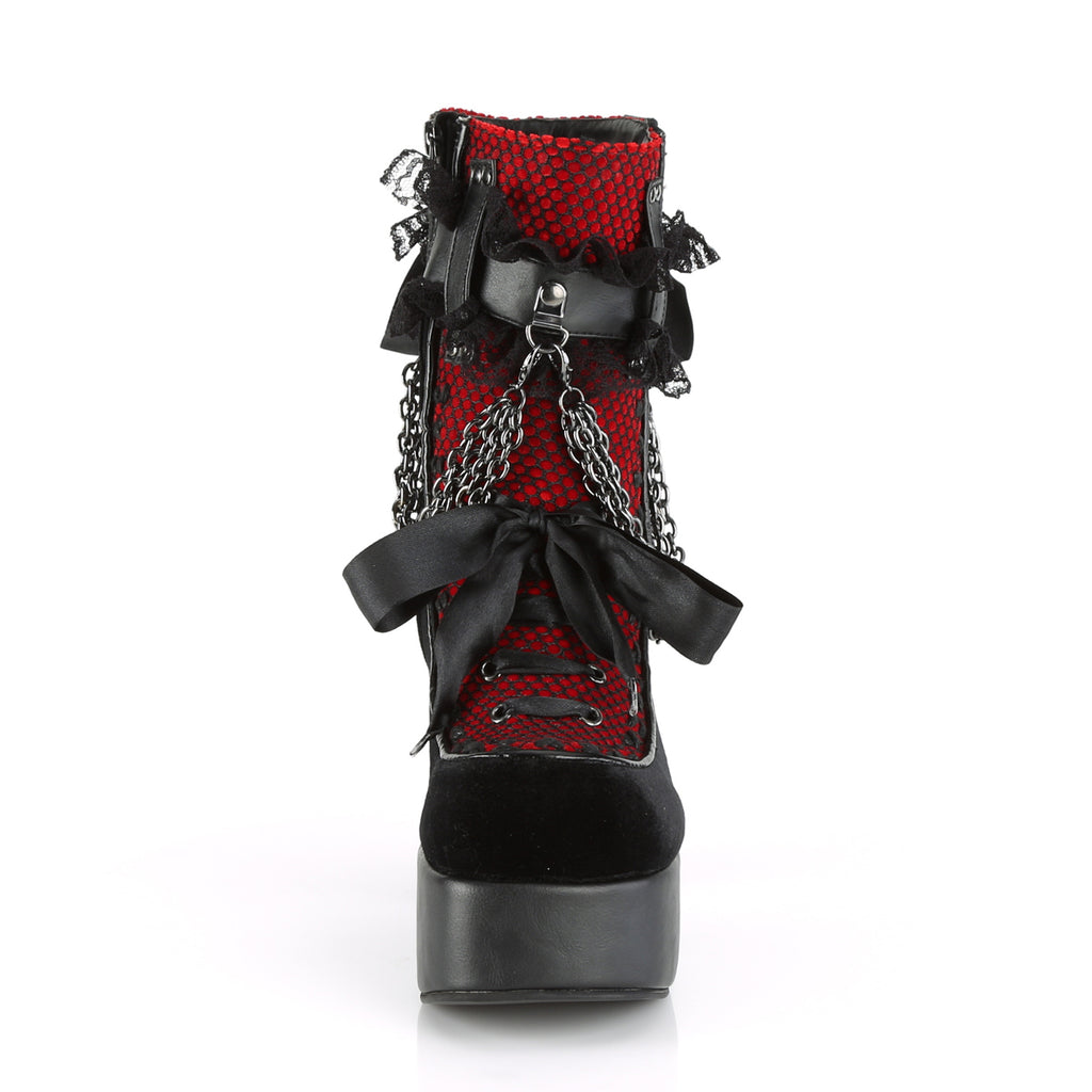 Red and Black Velvet Lace Up Boots CHARADE-110 - The Atomic Boutique