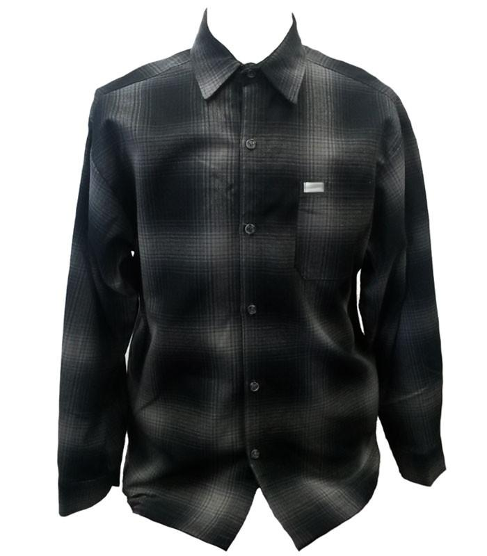Charcoal Grey Long Sleeve Flannel Shirt - The Atomic Boutique  - 1