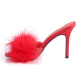 Red Marabou Fur CLASSIQUE-01F Slippers - The Atomic Boutique