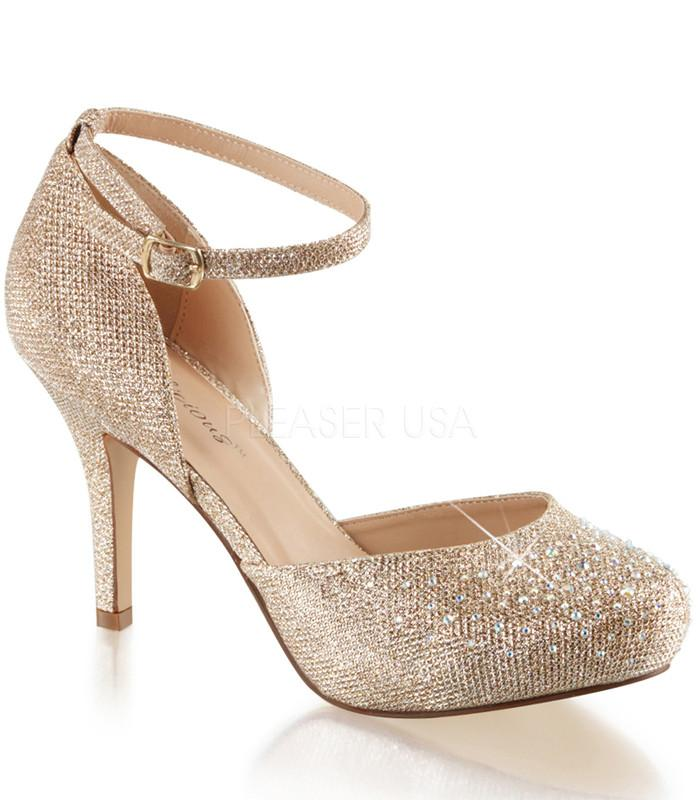 Fabulicious Gold Ankle Strap d'Orsay Pump - The Atomic Boutique
