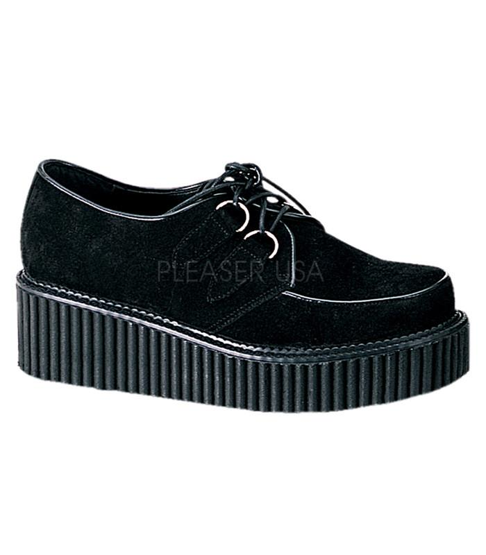 Demonia Black Suede Womens Two Inch Creepers - The Atomic Boutique
