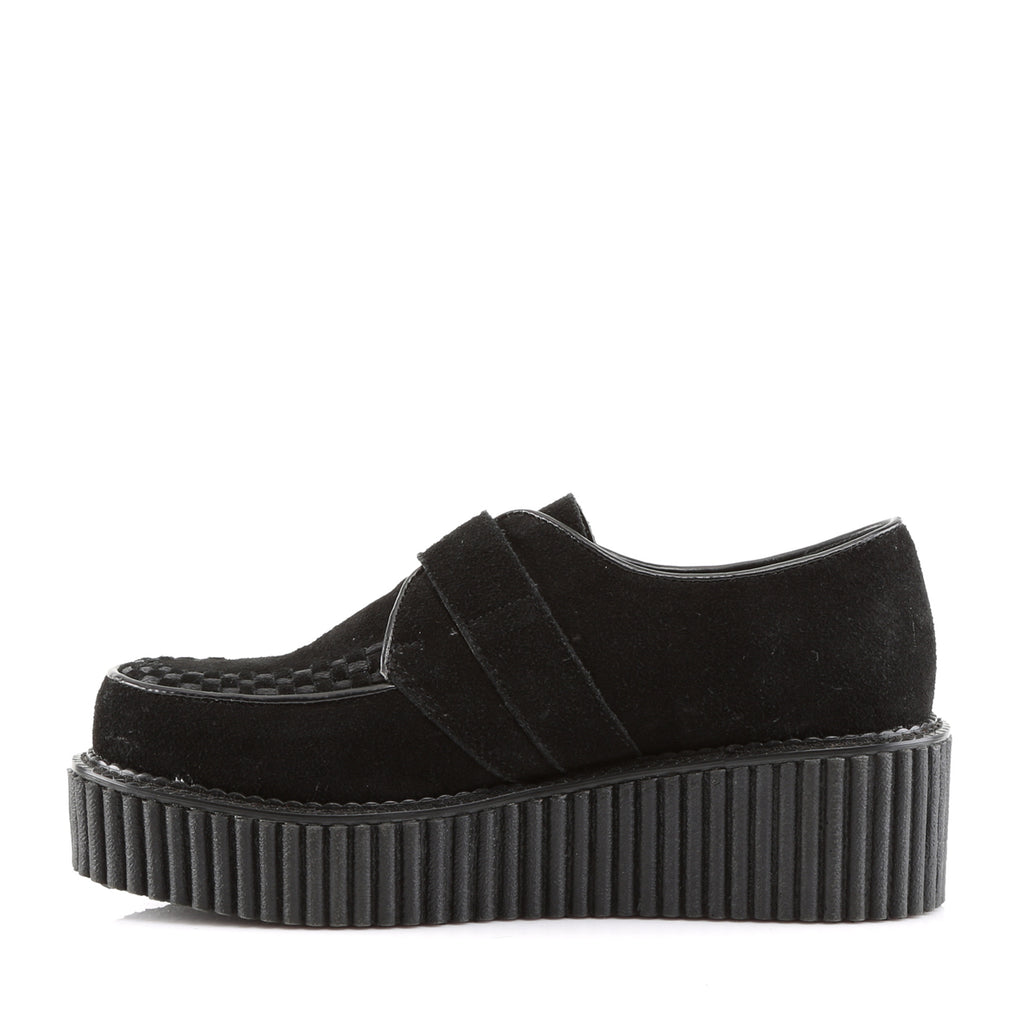 Black Suede D-Ring Buckle Monk Creepers CREEPER-118 - The Atomic Boutique