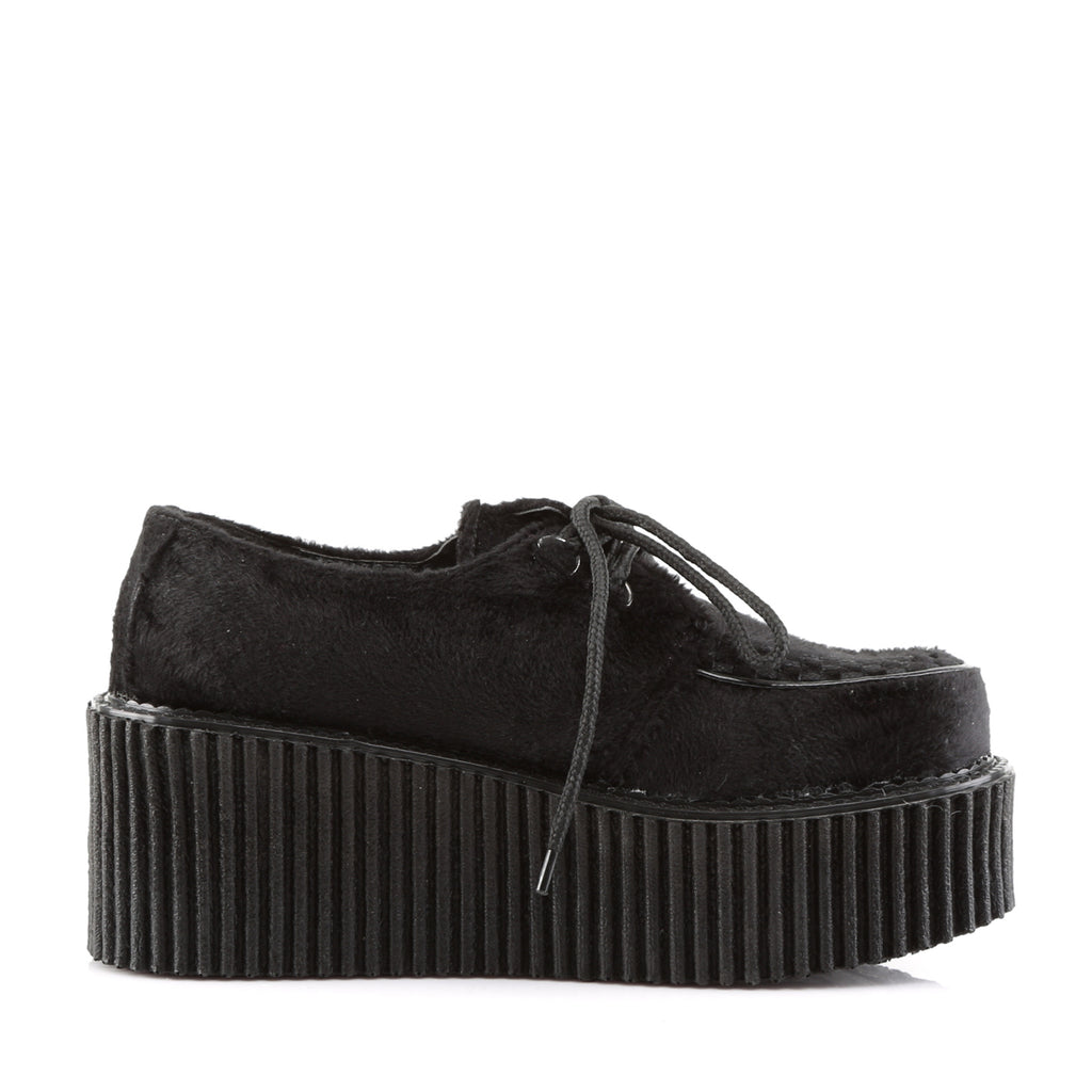 Black Fur Three Inch Platform Creepers CREEPER-202 - The Atomic Boutique