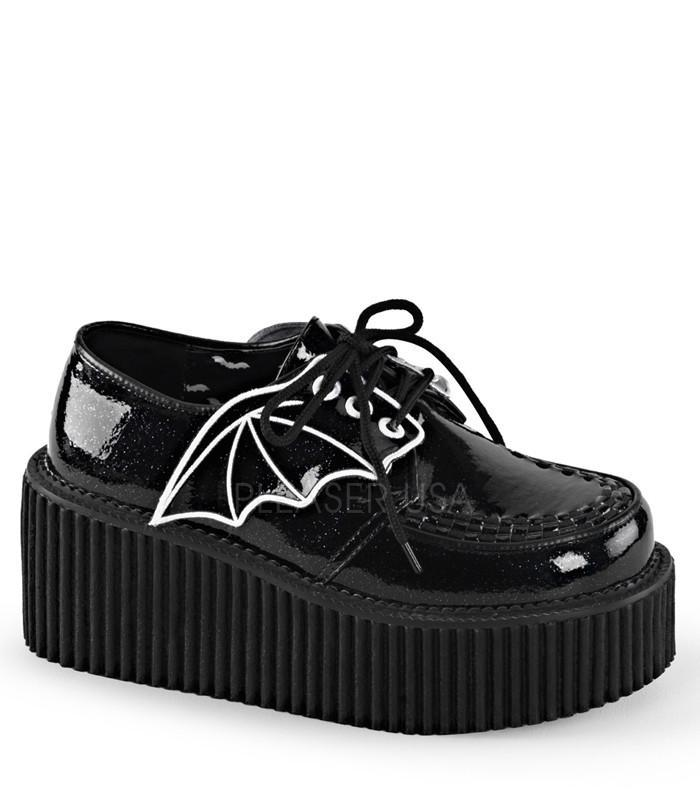 Demonia Bat Wing Black Platform Creepers CREEPER-205 - The Atomic Boutique