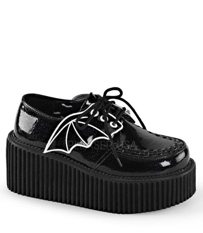 Demonia Black Patent Two Inch Heart Stud Creepers