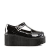 T-Strap Three Inch Black Patent Leather Platform Creepers CREEPER-214 - The Atomic Boutique