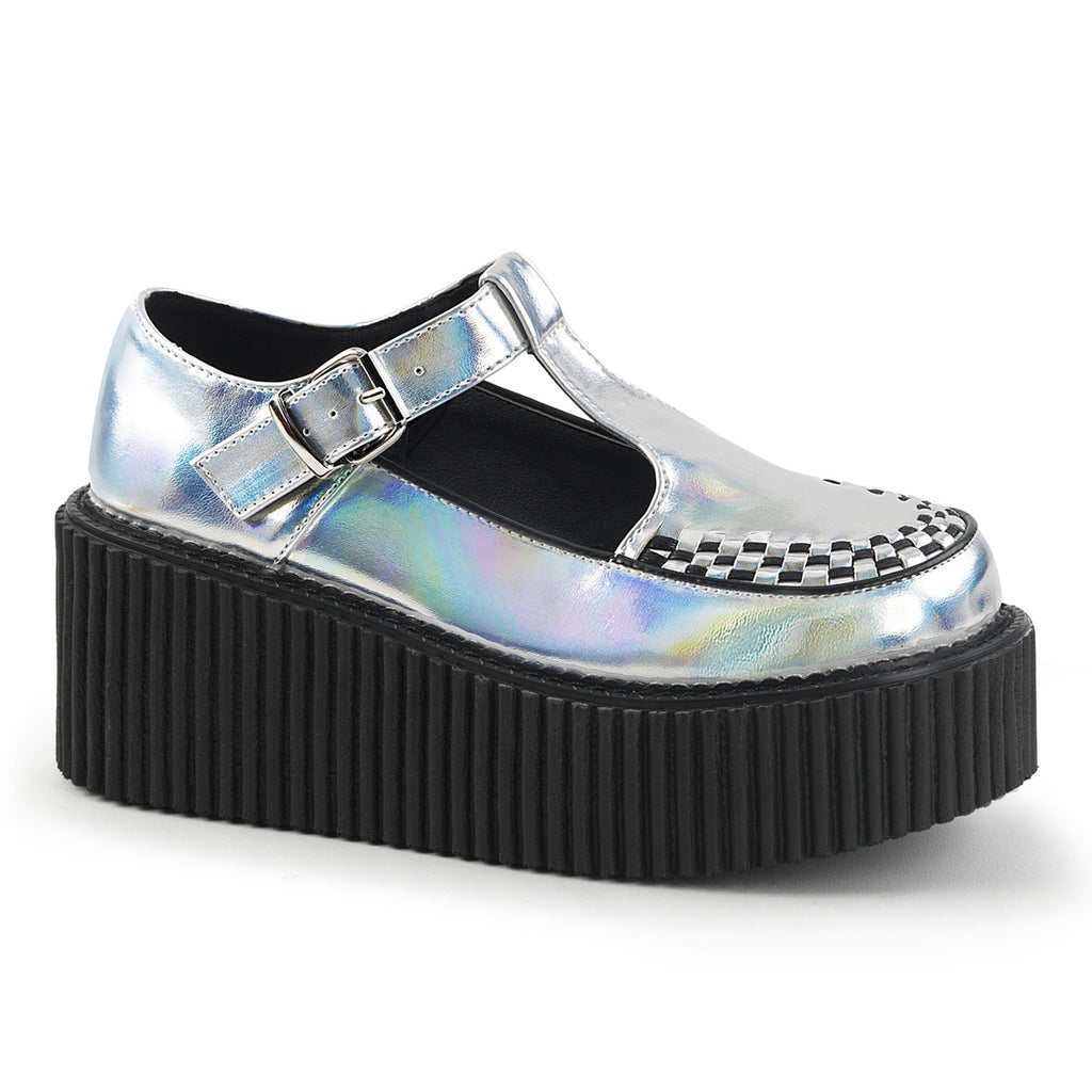 Silver Hologram Three Inch T-Strap Creepers CREEPER-214 - The Atomic Boutique