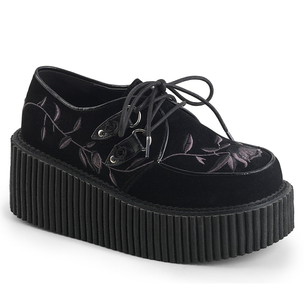 Floral Embroidered Three Inch CREEPER-219 - The Atomic Boutique