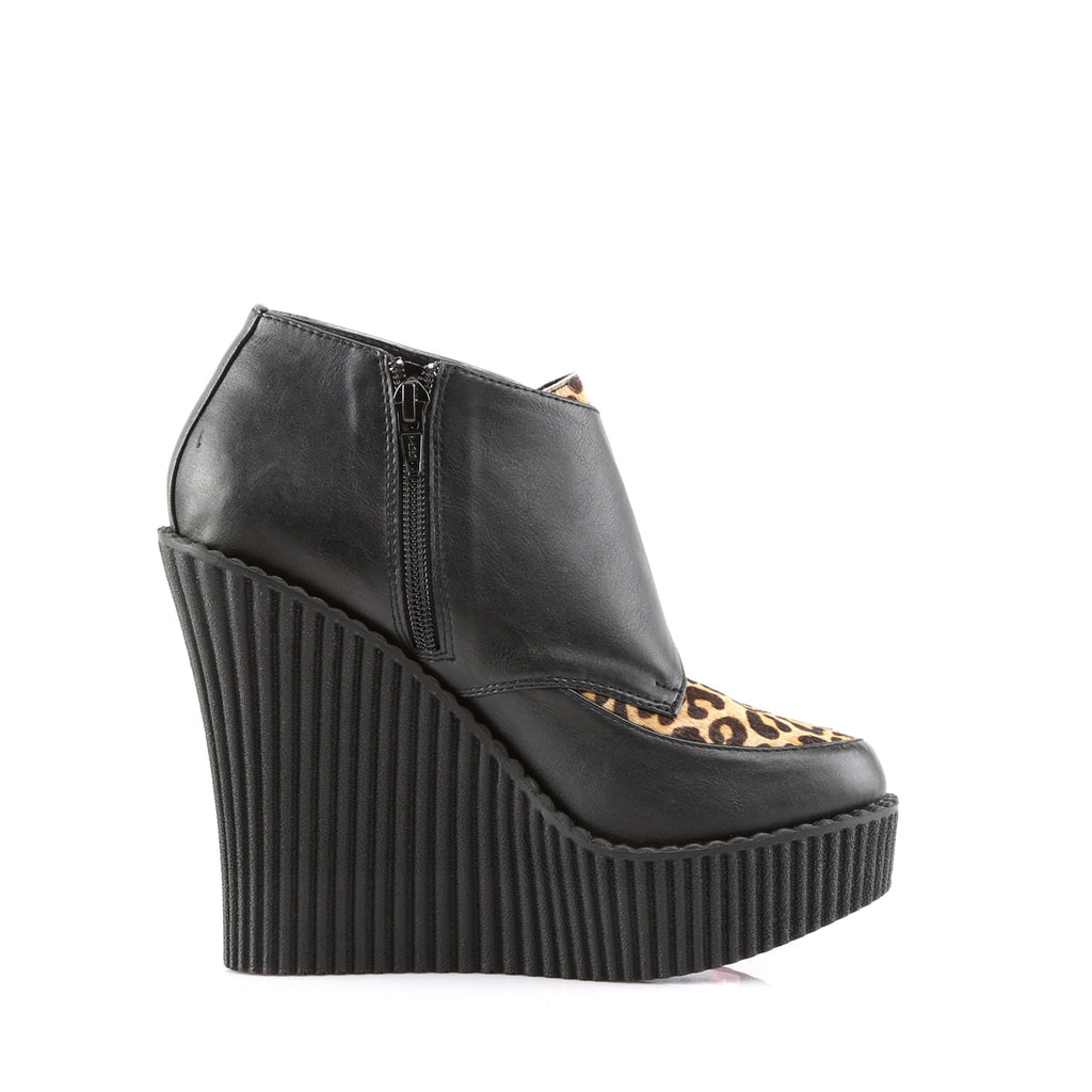 Leopard Black Skull Buckle Wedge Platform Creepers - The Atomic Boutique  - 5