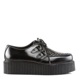 Black Leather Two Inch Creepers CREEPER-402 - The Atomic Boutique