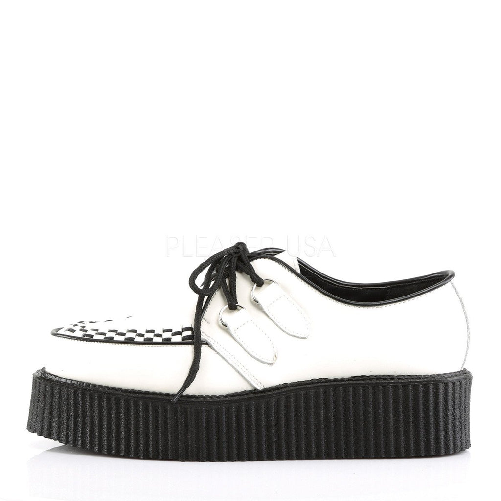 Demonia Black and White Leather Upper Two Inch Creeper - The Atomic Boutique  - 3