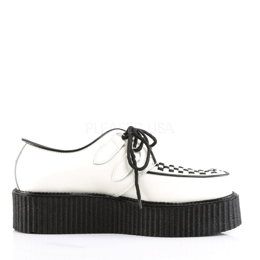 Demonia Black and White Leather Upper Two Inch Creeper - The Atomic Boutique  - 5