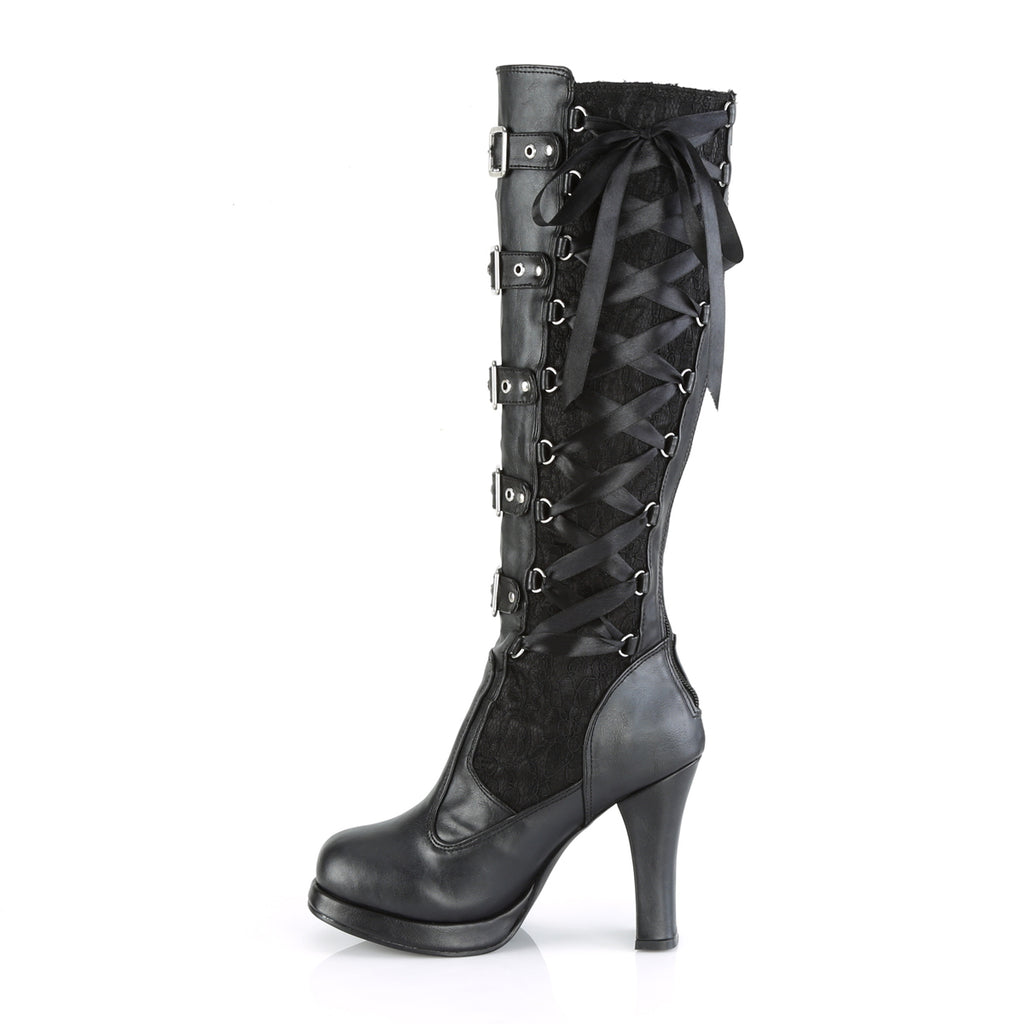 Corseted Black Lace Buckle Knee High Boots CRYPTO-106 - The Atomic Boutique