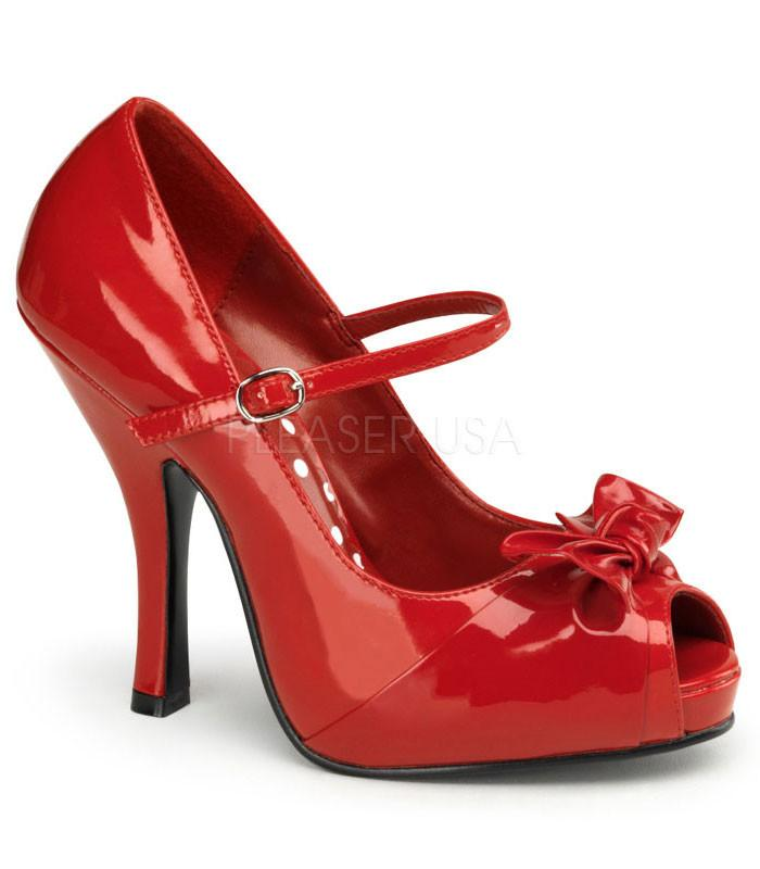 Pin Up Couture Cutiepie Red Patent Open Toe Pumps - The Atomic Boutique  - 1
