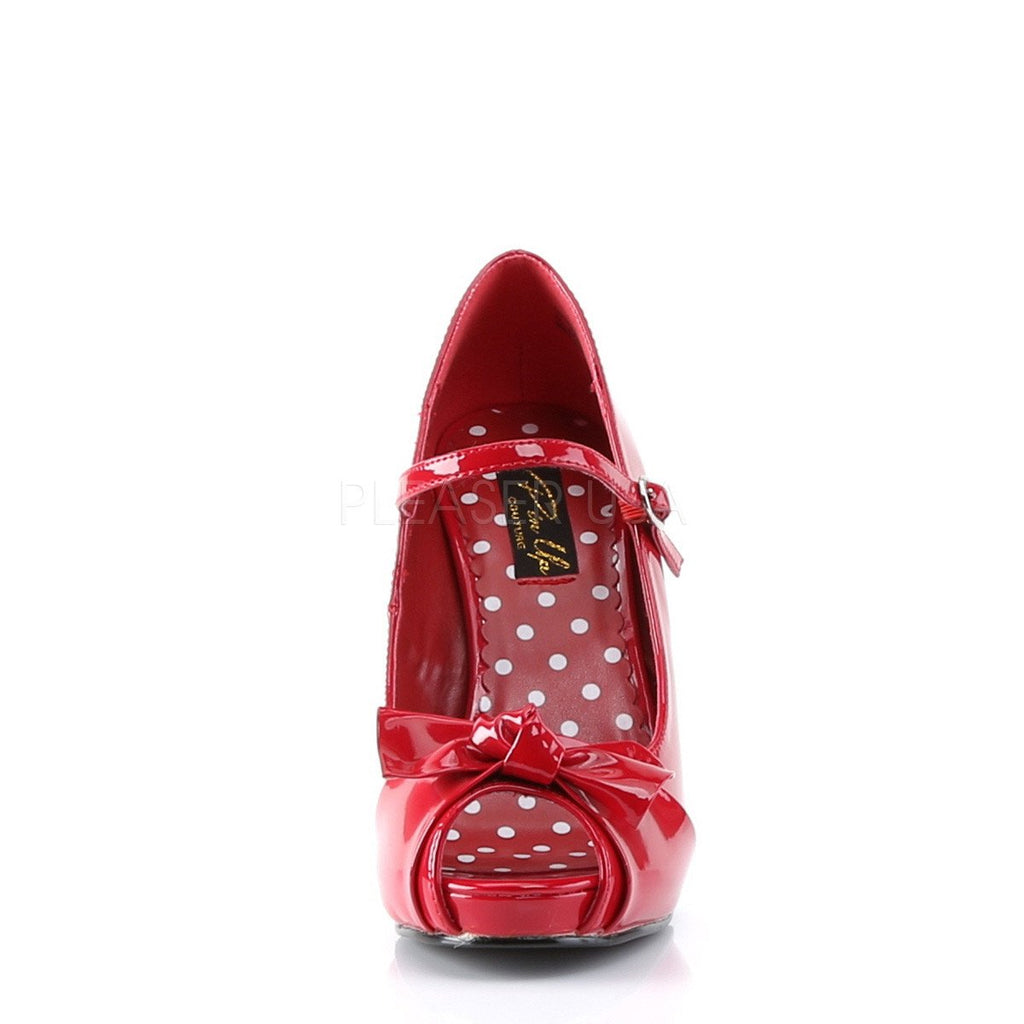 Pin Up Couture Cutiepie Red Patent Open Toe Pumps - The Atomic Boutique  - 2