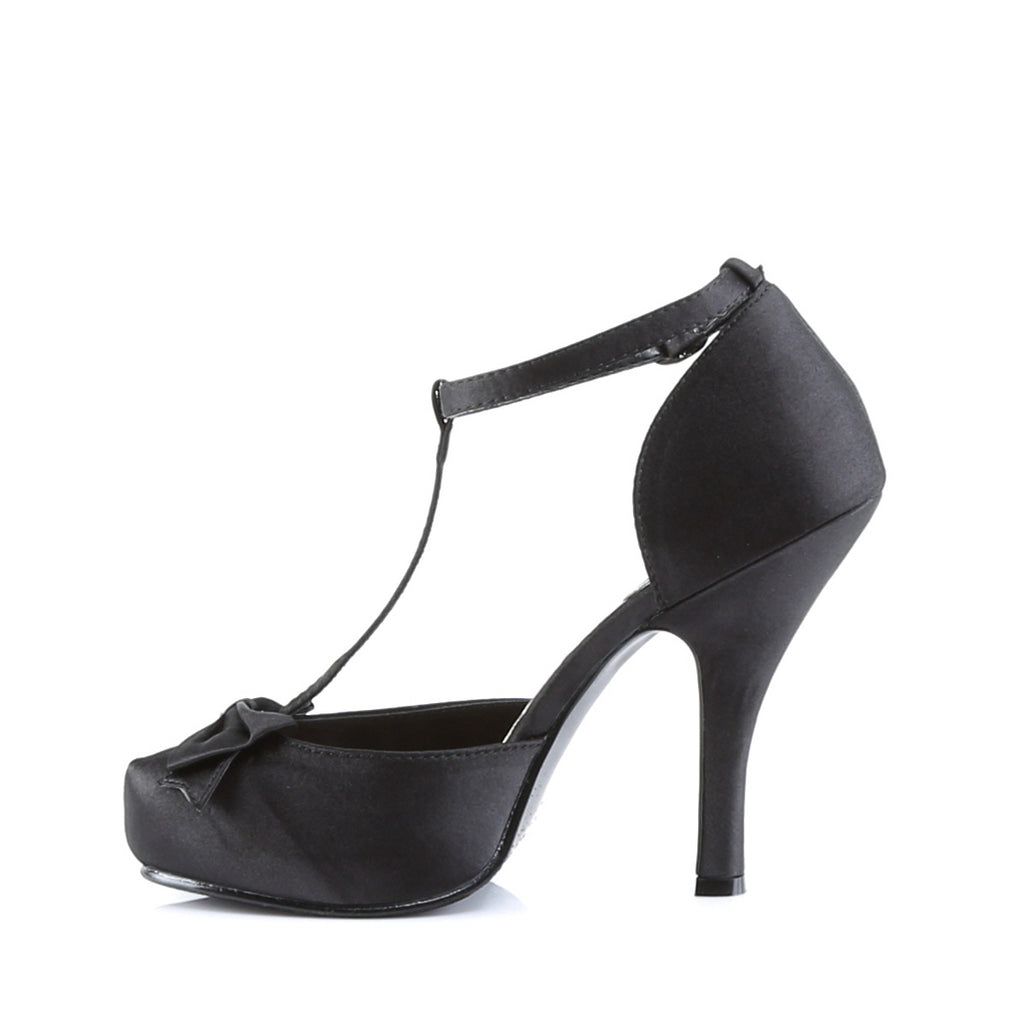 Cutie Pie Black Satin D'orsay T-Strap Pumps CUTIEPIE-12 - The Atomic Boutique