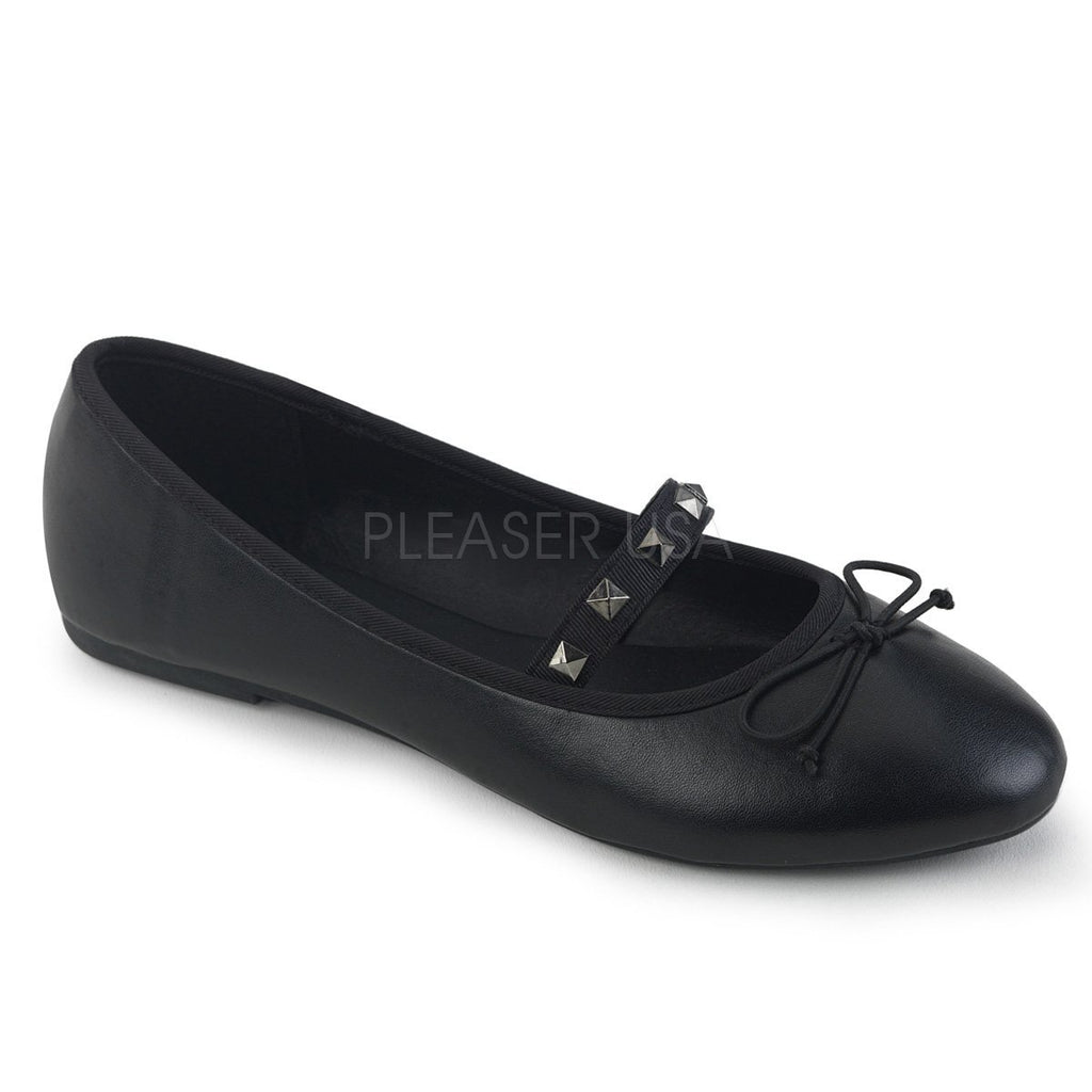 Black Vegan Leather Slip On Flats - The Atomic Boutique