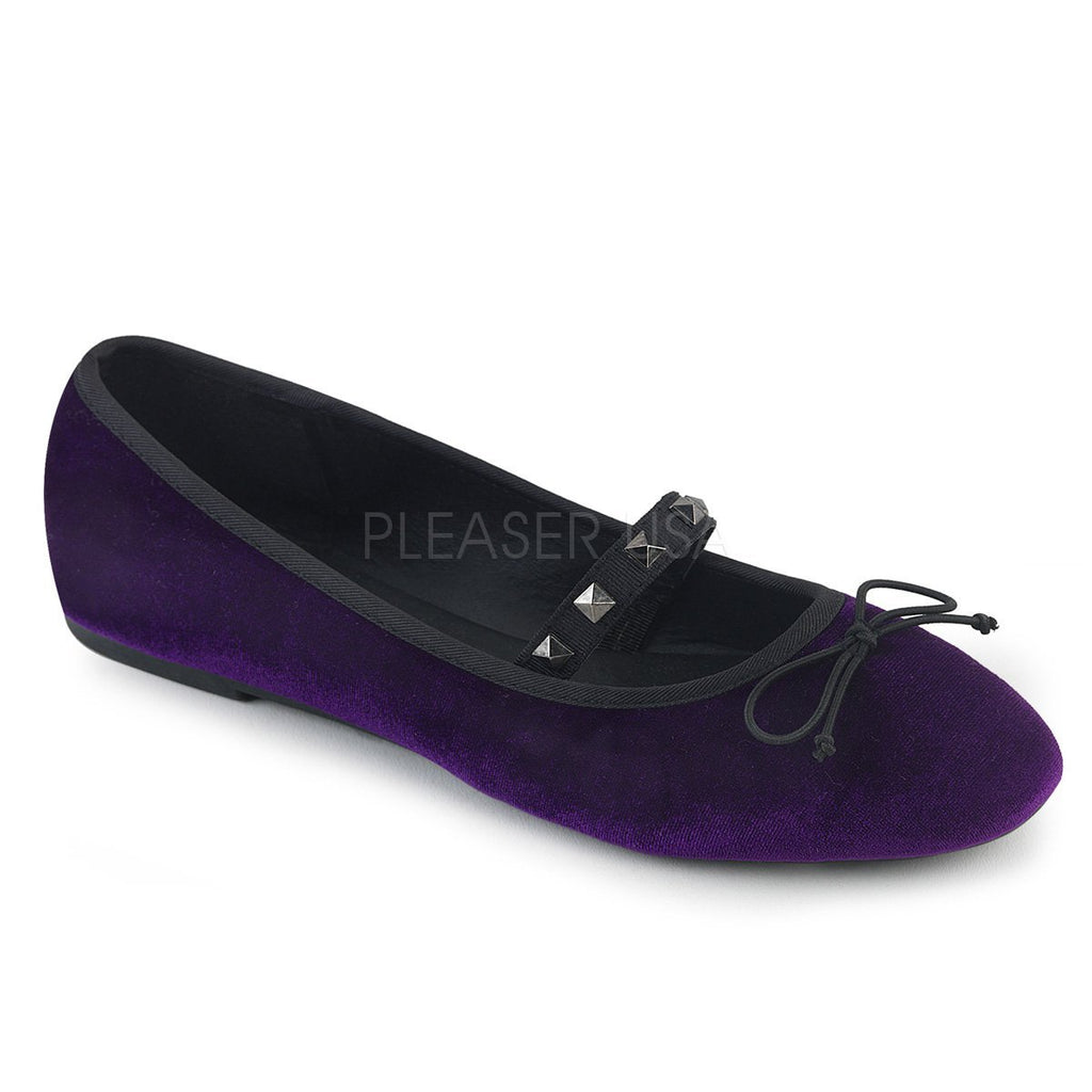 Demonia Purple Velvet Flats - The Atomic Boutique