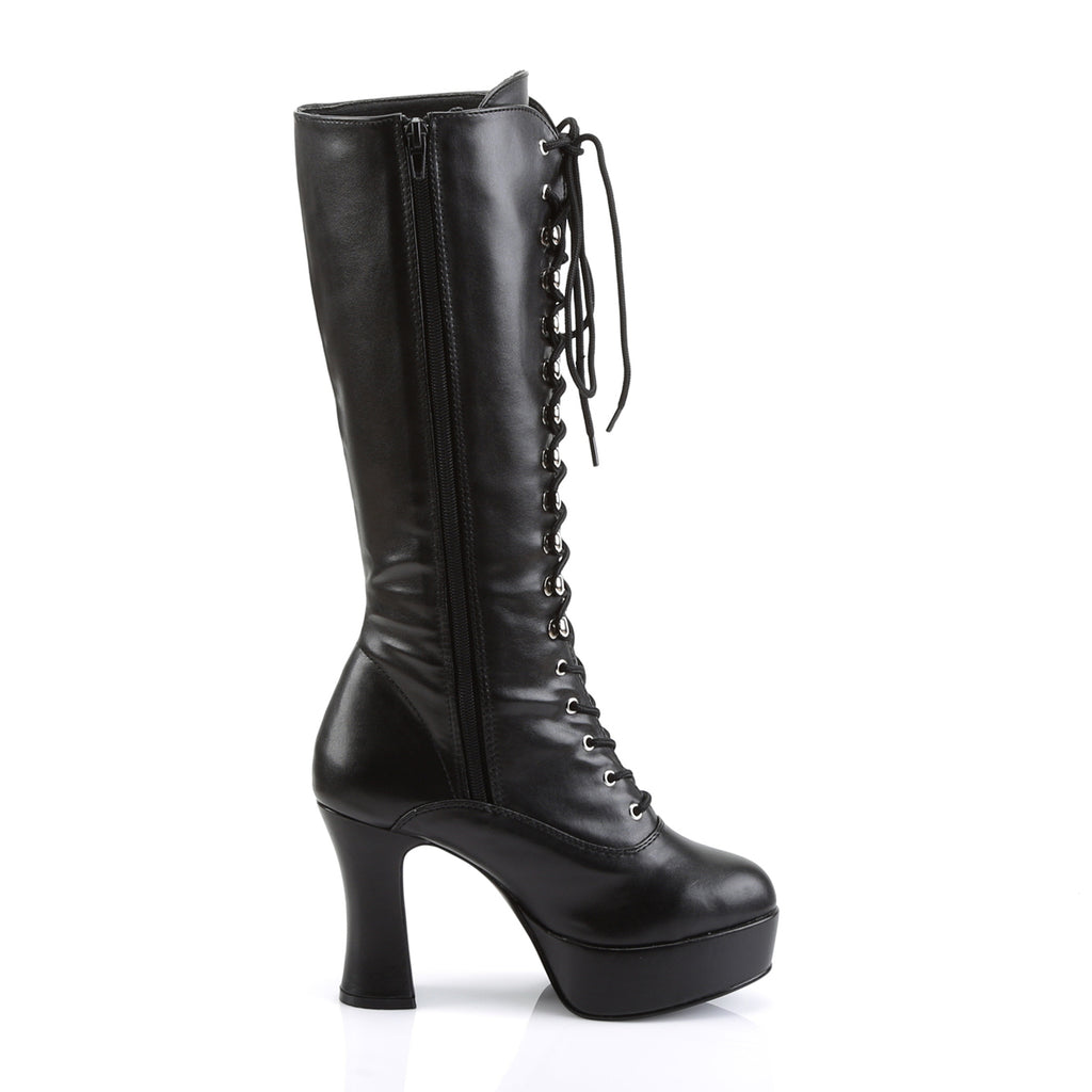 Black Pleather Exotica Lace Up Boots EXOTICA-2020PU - The Atomic Boutique