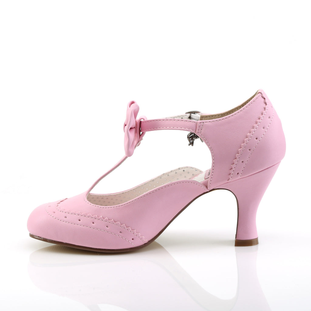 Flapper Bow Baby Pink T-Strap Pumps FLAPPER-11 - The Atomic Boutique
