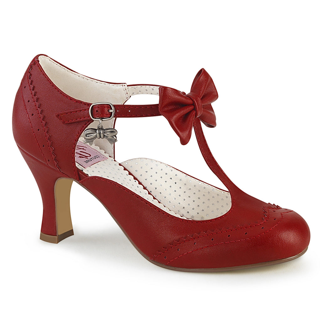 Kitten Heel Red Bow T Strap Pumps