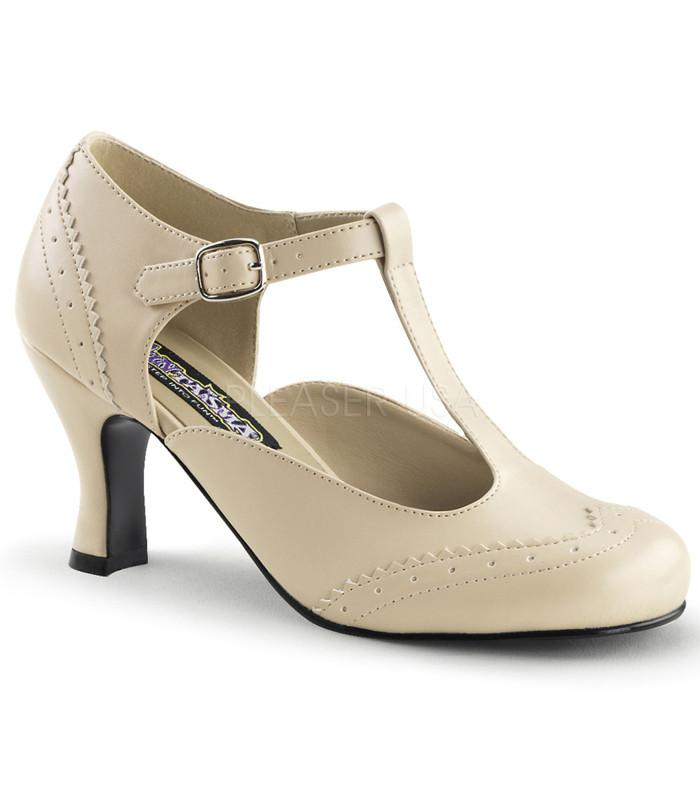 Funtasma Cream T-strap Kitten Heels - The Atomic Boutique
