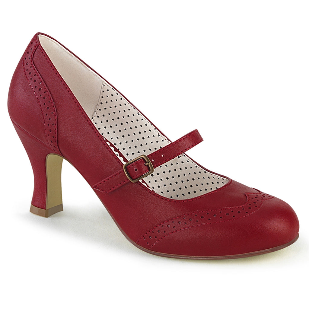 Red Flapper Mary Jane Wingtip Strap Pumps