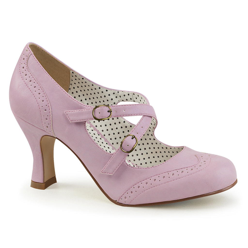 Baby Pink Criss Cross Wingtip Pumps FLAPPER-35 - The Atomic Boutique