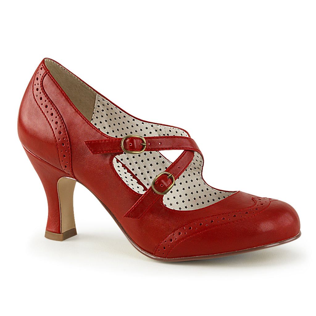 Criss Cross Flapper Mary Jane Red Pumps FLAPPER-35 - The Atomic Boutique