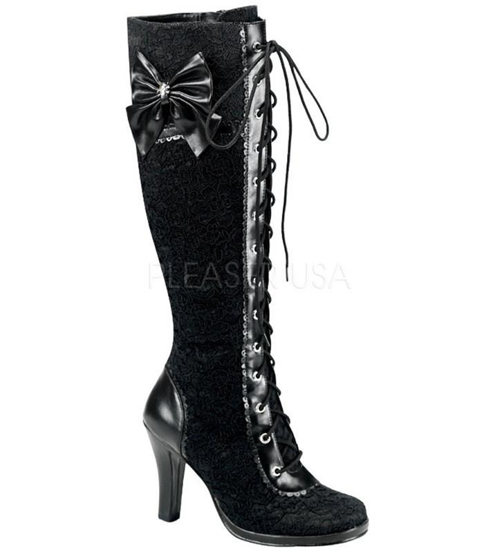 Lace Overlay Knee High Boots - The Atomic Boutique  - 1
