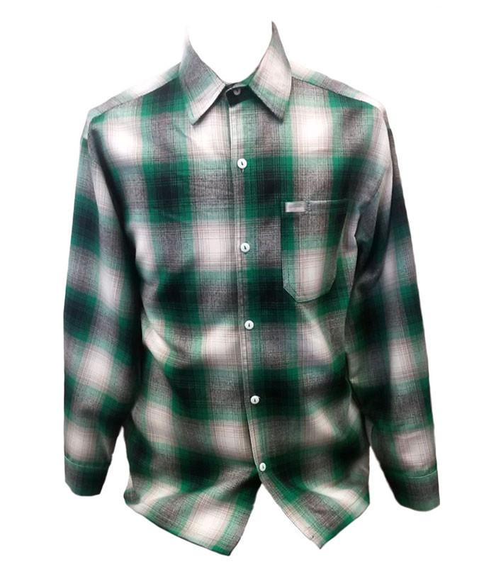 Green Long Sleeve Flannel Shirt - The Atomic Boutique  - 1