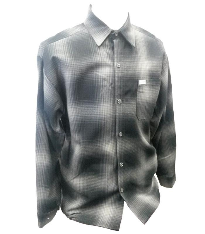 Light Grey Long Sleeve Flannel Shirt - The Atomic Boutique  - 1