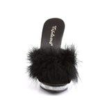 Black Marabou Slippers LIP-101-8 - The Atomic Boutique