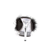 Platform Black and Clear Marabou Slippers LIP-101-8 - The Atomic Boutique