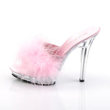Pink Marabou Clear Slides LIP-101-8 - The Atomic Boutique