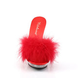 Red and Clear Marabou Slippers LIP-101-8 - The Atomic Boutique