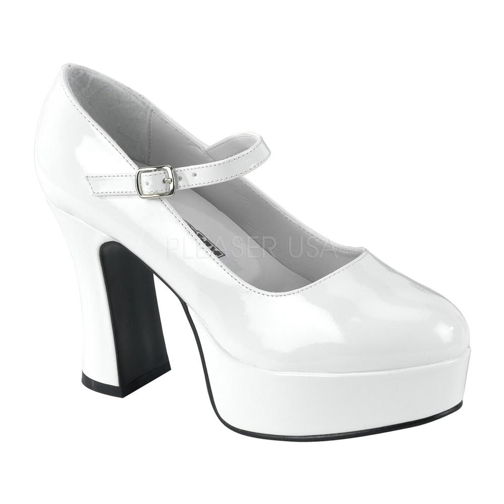 Funtasma Mary Jane White Patent Ankle Strap Pumps - The Atomic Boutique  - 1