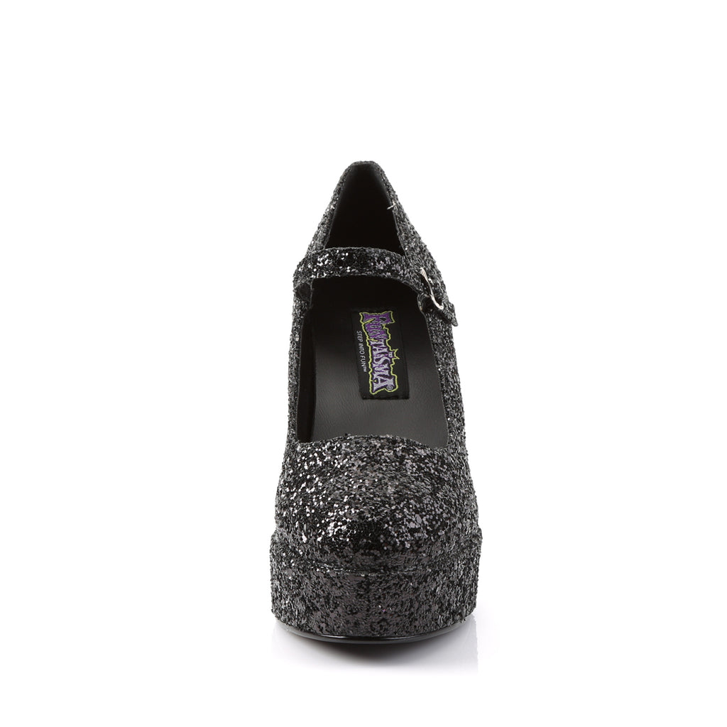 Black Glitter Babydoll Mary Jane Pumps MARYJANE-50G Pumps - The Atomic Boutique