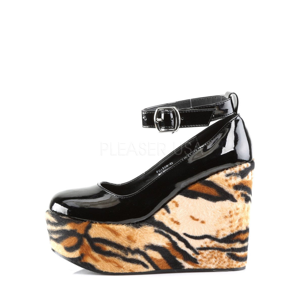 Demonia Tiger Poison Ankle Strap Wedges - The Atomic Boutique