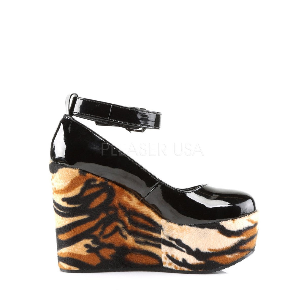Demonia Tiger Poison Ankle Strap Wedges - The Atomic Boutique  - 5